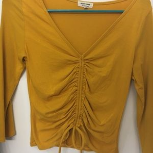 Yellow Scrunched Top with Tie